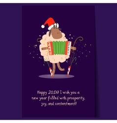 Cartoon funny sheep with garland christmas vector