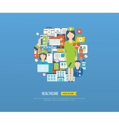 Concept for healthcare medical help and research vector image