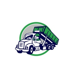 Roll-Off Bin Truck Driver Thumbs Up Circle Cartoon vector image