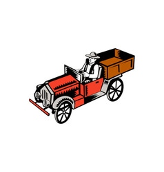 Vintage Pick Up Truck Driver Woodcut vector image vector image