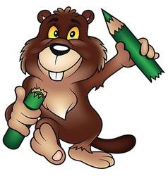 Beaver holding pencil vector
