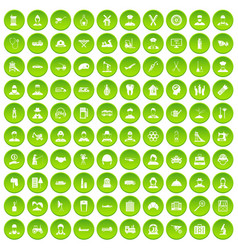 100 job icons set green circle vector