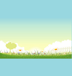 A beautiful garden of flowers landscape with vector