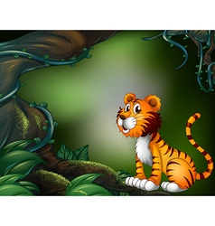 A tiger in the dark forest vector