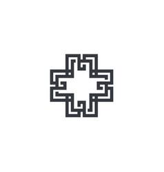 abstract cross logo plus sign geometric futuristic vector image