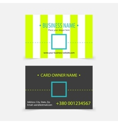 Abstract light green stripes business cards vector image