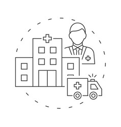 ambulance car and clinic center with doctor avatar vector image