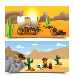 american old west horizontal banners vector image