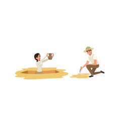 Archaeologist scientist characters working vector