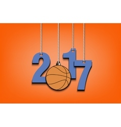Basketball and 2017 hanging on strings vector