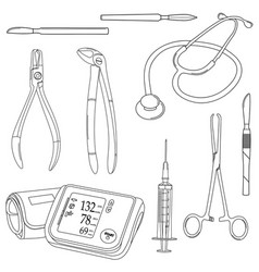 black-and-white set with medical tools vector image