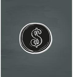 Black coin with dollar symbol vector