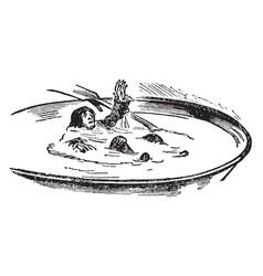 Bowl of cream vintage vector