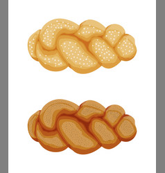 braided bread bun icon vector image