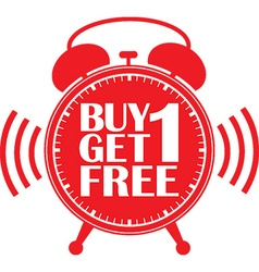 Buy 1 get 1 free red alarm clock vector