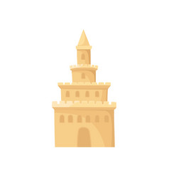 Cartoon icon of high sand castle element of beach vector