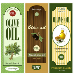 cartoon olive oil labels set vector image