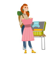 Caucasian traveler woman packing suitcase vector