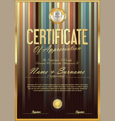 Certificate retro design template 08 vector