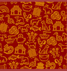 chinese horoscope signs seamless pattern vector image