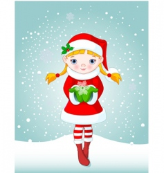 Christmas girl in snow vector image