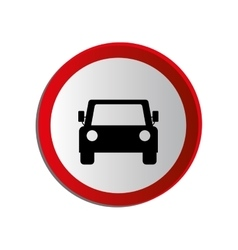 circular contour road sign of car crossing vector image