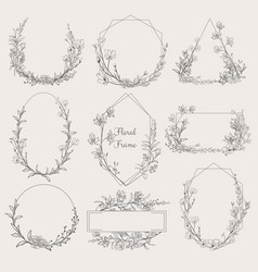 Collection geometric floral frames vector