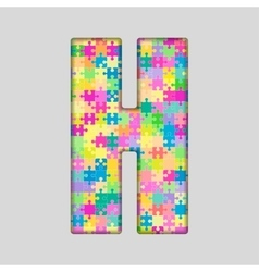 Color Piece Puzzle Jigsaw Letter - H vector image