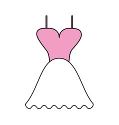 Color silhouette image wedding dress fashion vector