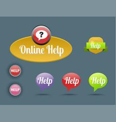 colorful website online help buttons design vector image