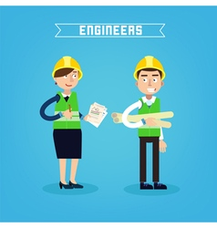 Construction Workers Engineer and Project Manager vector image