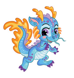 Cute little water dragon isolated vector