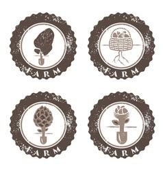 Eco farm vintage grunge labels collection vector