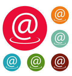email address icons circle set vector image