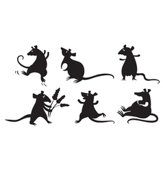 Fancy rats silhouettes set vector