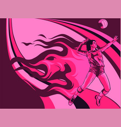 Female volleyball player fire power vector