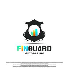 Financial guard logo design with charts concept vector
