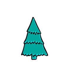 fir-tree doodle icon on white background vector image