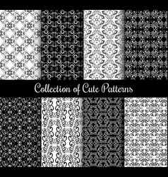 Floral arabic pattern set black and white modern vector