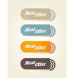 Four colored paper stipes with best offer text vector