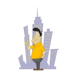 Fun cartoon guy holding his finger up vector