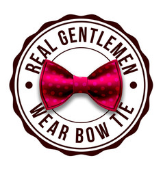 gentleman label design top club bow tie vector image