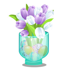 Glass vase with fresh flowers tulips and easter vector