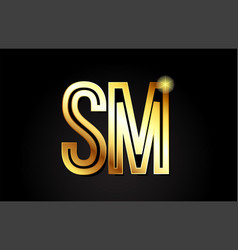 Gold alphabet letter sm s m logo combination icon vector
