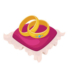 Golden metal wedding rings with brilliant on red vector