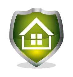 Green home security shield badge vector