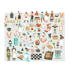 Hand drawn abstract cartoon cooking class vector