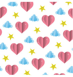 heart and cloud with bright star background vector image