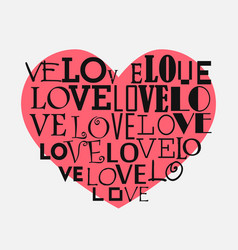 heart background with different inscriptions love vector image