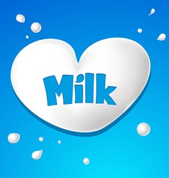 Heart symbol - milk drops vector